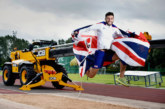 Athlete Ben jumps for joy after landing JCB sponsorship