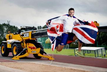 Athlete Ben jumps for joy after landing JCB sponsorship