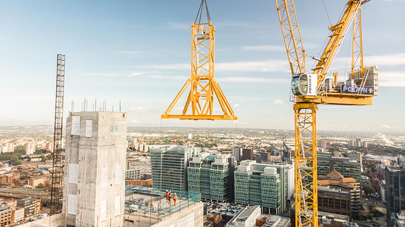 Two Potain MR 295 tower cranes are helping to build Birmingham's tallest office building