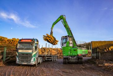 SENNEBOGEN 730 E material handler   Pick & Carry operation at Pontrilas Timber