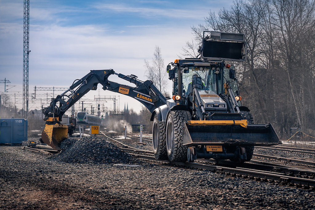 Nokian Ground Kare Semi-Slick tire for backhoe loaders is tailormade for railway use
